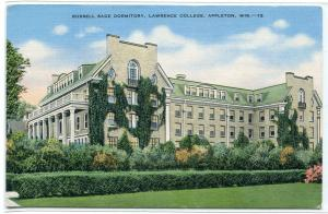 Russell Sage Dormitory Lawrence College University Appleton Wisconsin postcard