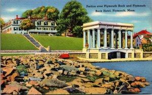 Plymouth Rock Hotel Portico Rock Plymouth Ma Postcard Massachusetts Linen