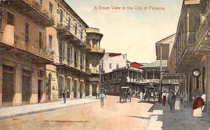 Panama Old Vintage Antique Post Card Street View Unused