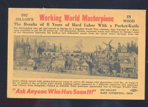 EAST LIVERPOOL OHIO DIC DILLON WOOD CARVING VINTAGE ADVERTISING POSTCARD