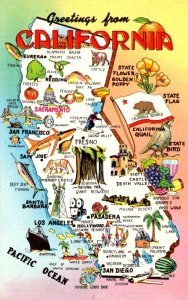 California Greetings With Map Of The Golden State