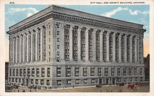 City Hall and County Building, Chicago, Illinois, Early Postcard, Unused