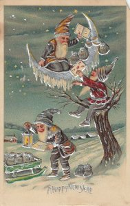 NEW YEAR, PU-1908; Elves collecting and hanging from moon crescent