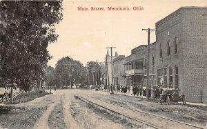 G5/ Metamora Ohio Postcard c1910 Main Street Stores Automobile Crowd