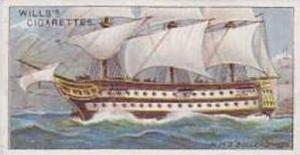 Wills Vintage Cigarette Card Celebrated Ships No 45 H M S Bellerophon  1911