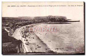 Old Postcard Mers les Bains Mers Panorama Beach and took the cliff