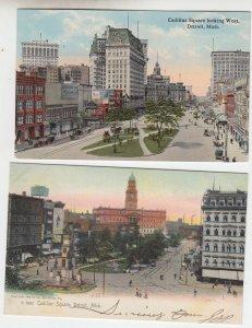 P2072, 2 old postcard dif views cadillac sq traffic etc detroit michigan unused