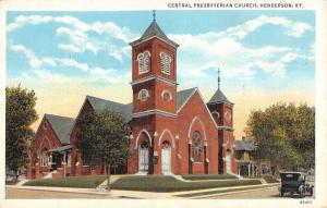Henderson Kentucky Central Presbyterian Church Linen Antique Postcard K12268
