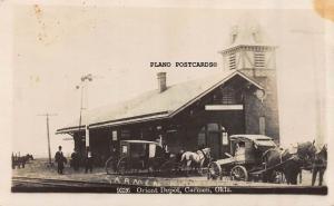 CARMEN, OKLAHOMA ORIENT TRAIN DEPOT-1910 RPPC REAL PHOTO POSTCARD