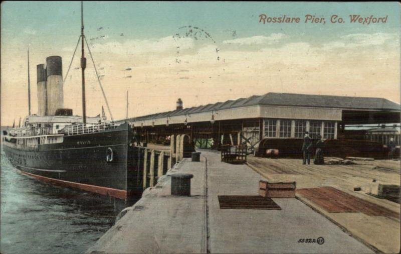 Steamer Ship David at Rosslare Pier Co Wexford Ireland c1910 Postcard