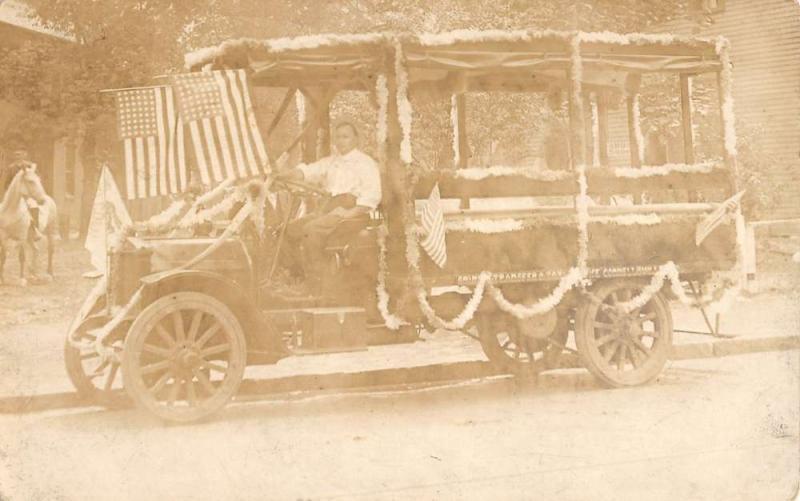 Decorated Bus Car Vintage Patriotic Real Photo Antique Postcard K28978