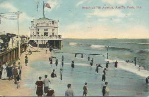 Beach at 7th Ave., Asbury Park, New Jersey, Early Postcard, Used in 1912