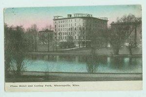 030912 PLAZA HOTEL AND LORING PARK MINNEAPOLIS MN VINTAGE POSTCARD
