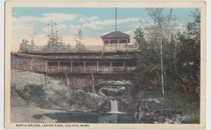 Minnesota Mn Postcard c1910 DULUTH Rustic Bridge LESTER PARK Waterfall