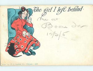 Pre-1907 comic UNLUCKY BLACK CAT BESIDE WOMAN SITTING IN CHAIR HQ8464