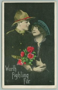 WWI Patriotic~Soldier Lover Serie~Lovely Lady Worth Fighting For~Black Back~1917