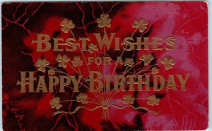 Vintage Embossed Greetings Postcard BEST WISHES FOR A HAPPY BIRTHDAY Unused