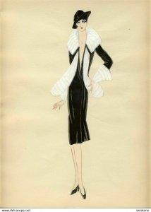 ORIGINAL ART hand drawn ART DECO 1920s woman's fashion #4 MODE