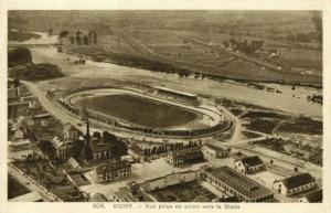 france, VICHY, Aerial View with Stadium, Stade (1937) Stadium Postcard