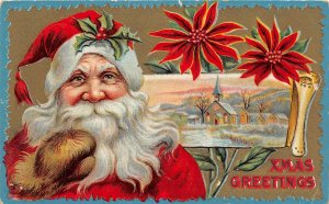 F99/ Santa Claus Christmas Postcard c1910 Smile Gloves Holly Hat 11