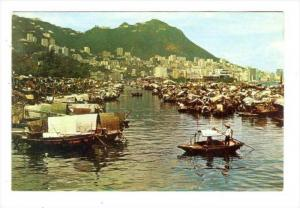 Boat People In Causeway Bay Typhoon Shelter, Hong Kong, China, 1950-1970s
