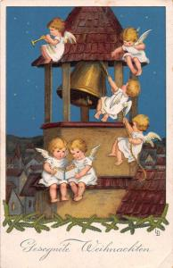 Christmas Greetings Angels Bell Tower Antique Postcard J79997