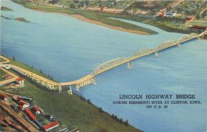 Clinton Iowa~Aerial View Lincoln Highway US 30 Bridge~1940s Postcard