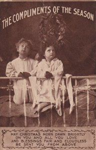 CHRISTMAS, 1900-10s; Compliments of the Season, Children on bed praying
