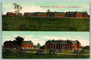 Fort Des Moines Iowa~Cannons & Barracks~Split View of Military Base c1910 PC