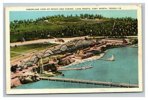 Vintage 1930's Linen Postcard Aerial View Lake Worth Casino Beach Fort Worth TX