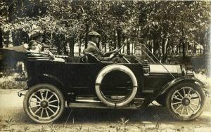 Family in a Beautiful Old Car (1910s) RPPC Postcard