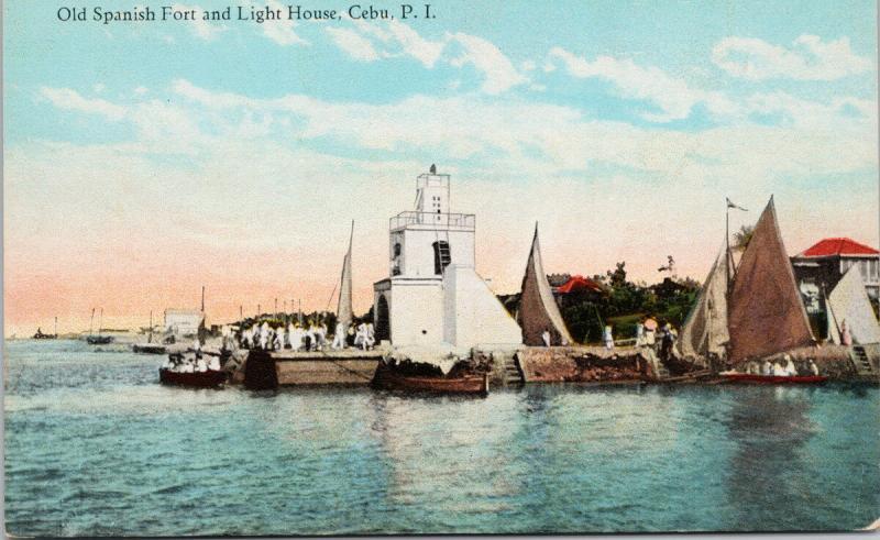 Old Spanish Fort and Light House Cebu Philippines PI Unused Postcard E39