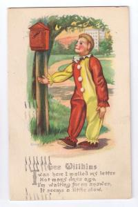 Gee Wilikins Clown Mailbox Gartner & Bender 1915 Poem PC