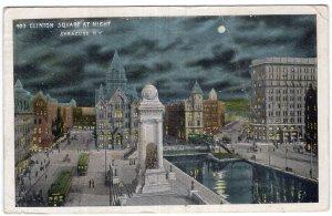 Syracuse, N.Y., Clinton Square At Night