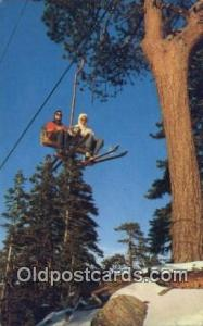 Double Chairlift, California, CA USA Skiing Postcard Post Card Old Vintage An...