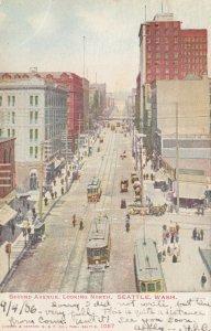 SEATTLE , Washington , PU-1906 ; Second Avenue, Looking North, Trolleys