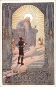 E. Kutzer Fantasy Man at Heaven's Gate? God c1915 Postcard #51