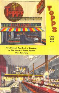 New York NY Topps Cafe and Bar Duo-View Neon Sign Linen Postcard