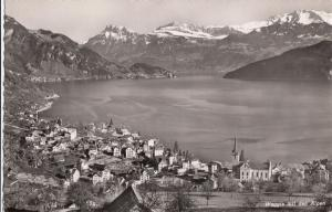 Switzerland, Suisse, Weggis mit den Alpen, unused real photo Postcard