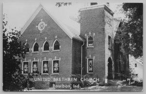 Bourbon Indiana~United Brethren Church Close Up~Nelson Cook Photo~c1950 RPPC
