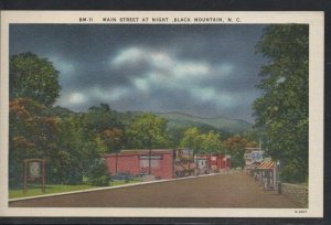 North Carolina colour Main Street at night Black Mountain, N.C unused