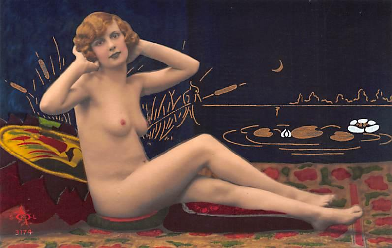 French Tinted Nude Postcard Unused