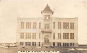 E23/ Viking Alberta Canada Postcard Real Photo RPPC c1910 New Public School