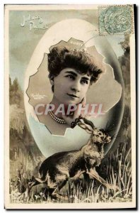 Old Postcard Fantaisie Happy Easter Bunny