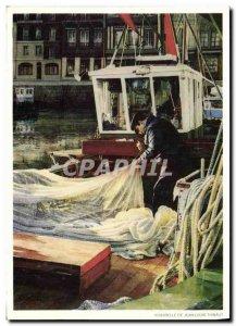 Modern Postcard Honfleur Mending nets Boat