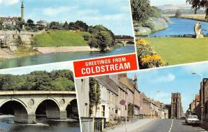 Scotland Coldstream bridge multiviews, River Tweed, Henderson Park, High Street
