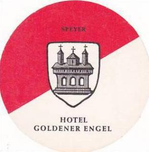 GERMANY SPEYER HOTEL GOLDENER ENGEL VINTAGE LUGGAGE LABEL