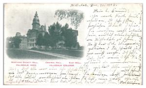 1903 Worthing Divinity, Central and East Halls, Hillsdale College, MI Postcard