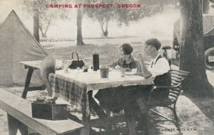 Camping at PROSPECT, Oregon, 1920-30s; Couple at Picnic Table with a Phonograph