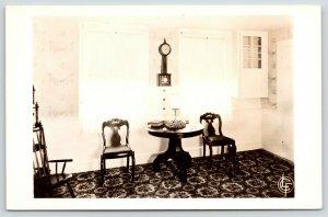 Rumney Village NH~12:10 Banjo Clock~Mary Baker Eddy Historical House~RPPC 1930s
